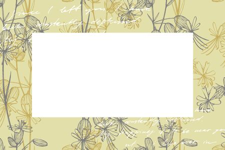 Hand drawn flowers and plants teamplate horizontal cards. Handwritten abstract text wallpaper. Imitation of a abstract vintage lettering. Botany, vintage flowers. Çizim