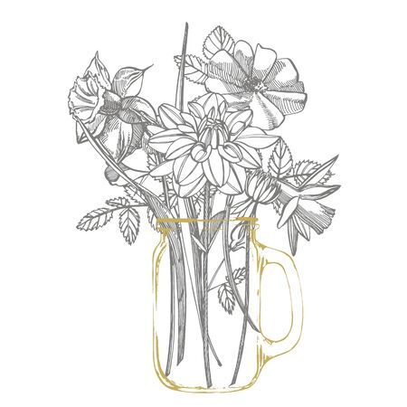 Roses and Dahlias flowers bouquet isolated on white background. Set of drawing cornflowers, floral elements, hand drawn botanical illustration. Handwritten abstract text.