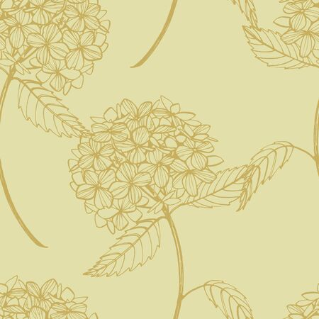 Hydrangea graphic illustration in vintage style. Flowers drawing and sketch with line-art on white backgrounds. Botanical plant illustration. Seamless pattern