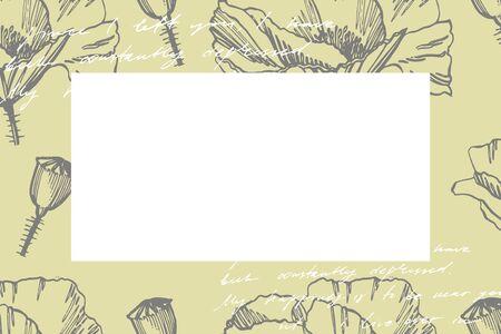 Poppy flowers. Botanical plant illustration. Vintage medicinal herbs sketch set of ink hand drawn medical herbs and plants sketch. Handwritten abstract text. Stock Vector - 132626551