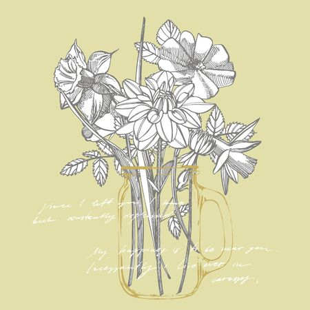 Roses and Dahlias flowers bouquet isolated on white background. Set of drawing cornflowers, floral elements, hand drawn botanical illustration. Handwritten abstract text Stock Vector - 132956079