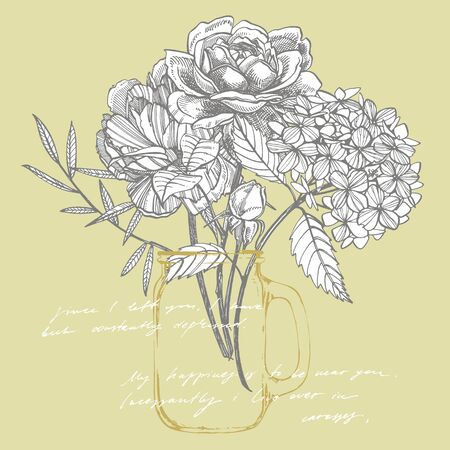Bouquet. Spring Flowers and twigs. Peonies, Hydrangea, Rose. Vintage botanical illustration. Black and white set of drawing cornflowers, floral elements, hand drawn botanical illustration. Handwritten abstract text