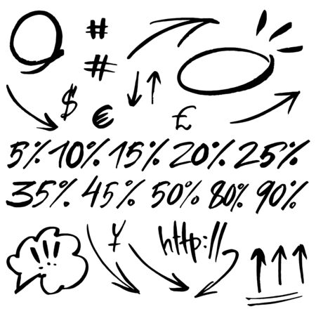 Hand drawn signs and numbers for social networks. Sale in the store and phone number. Arrows and dots
