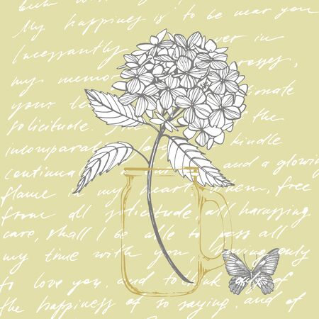Hydrangea graphic illustration in vintage style. Flowers drawing and sketch with line-art on white backgrounds. Botanical plant illustration. Handwritten abstract text
