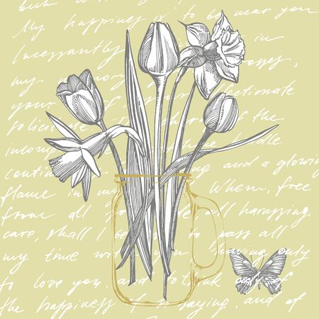 Tulips and Narcissus flowers bouquet isolated on white background. Set of drawing cornflowers, floral elements, hand drawn botanical illustration. Handwritten abstract text 向量圖像