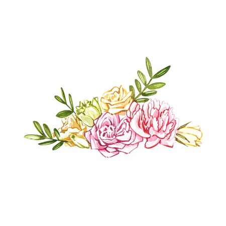 Watercolor flowers hand painted illustration isolated on white background. Watercolor sweets collection. Perfect for cards, prints, invitations, birthday cards. The romantic image with pink flower.