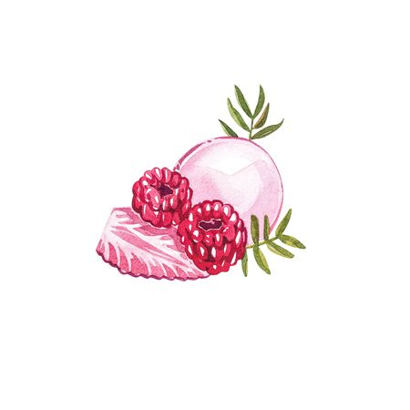 Watercolor macaroons hand painted illustration isolated on white background. Watercolor sweets collection. Perfect for cards, prints, invitations, birthday cards. The romantic image with cakes and pink flower. Stok Fotoğraf