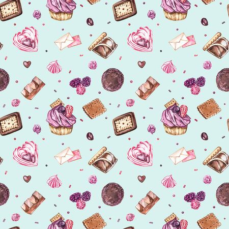 Watercolor image of a seamless pattern of sweets, candies in the shape of hearts, chocolates, cakes and envelope, Valentines Day. Perfect for cards, prints, invitations, birthday cards. Banque d'images - 133613134