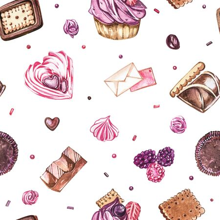 Watercolor image of a seamless pattern of sweets, candies in the shape of hearts, chocolates, cakes and envelope, Valentine's Day. Perfect for cards, prints, invitations, birthday cards Banque d'images - 133613139