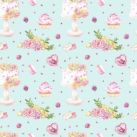 Watercolor image of a seamless pattern of sweets, candies in the shape of hearts, chocolates, cakes and envelope, Valentine's Day. Perfect for cards, prints, invitations, birthday cards Banque d'images - 133613143