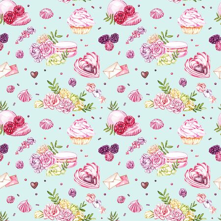Watercolor image of a seamless pattern of sweets, candies in the shape of hearts, chocolates, cakes and envelope, Valentines Day. Perfect for cards, prints, invitations, birthday cards Stock Photo