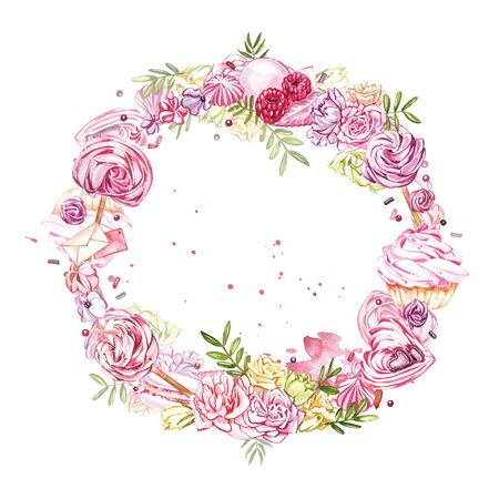 Watercolor image of a wreath of sweets, candies in the shape of hearts, chocolates, cakes and envelope, Valentines Day. Perfect for cards, prints, invitations, birthday cards