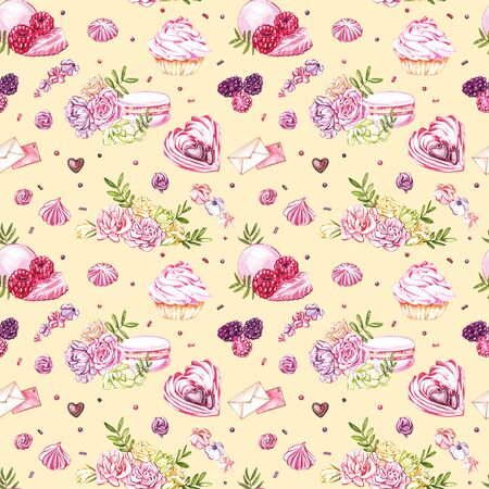 Watercolor image of a seamless pattern of sweets, candies in the shape of hearts, chocolates, cakes and envelope, Valentine's Day. Perfect for cards, prints, invitations, birthday cards Banque d'images - 133613148