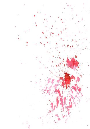 Beautiful watercolor ink drops on white paper, splatter spreading on clear background. Perfect for motion graphics, digital composition.