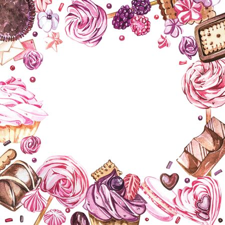 Watercolor sweets collection. Watercolor teamplate of a compositions of sweets, cakes and envelope. Valentines Day. Perfect for cards, prints, invitations, birthday cards. Stock Photo