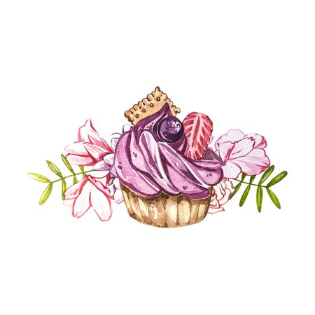 Watercolor cake hand painted illustration isolated on white background. Watercolor sweets collection. Perfect for cards, prints, invitations, birthday cards. The romantic image with cakes and pink flower.