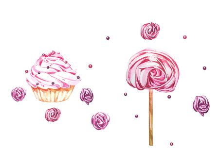 Watercolor illustration of cake. Perfect for invitation, wedding or greeting cards. With beautiful watercolor ink drops on white paper, splatter spreading on clear background.