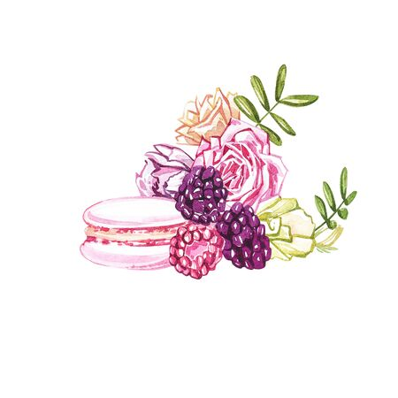 Watercolor macaroons hand painted illustration isolated on white background. Watercolor sweets collection. Perfect for cards, prints, invitations, birthday cards. The romantic image with cakes and pink flower. Stock Photo