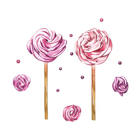 Watercolor sweets collection. Watercolor image of a compositions of sweets, cakes. Valentines Day. Perfect for cards, prints, invitations, birthday cards.