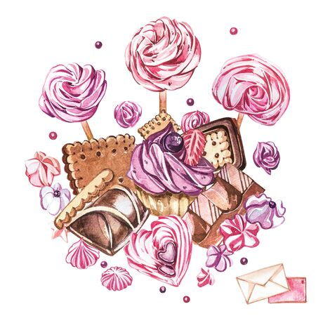 Watercolor sweets collection. Watercolor image of a compositions of sweets, cakes and envelope. Valentines Day. Perfect for cards, prints, invitations, birthday cards.