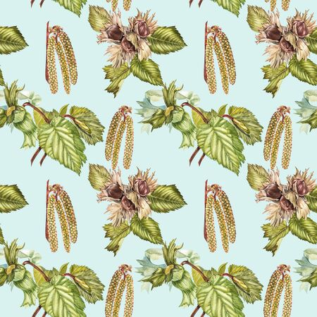 Watercolor realistic illustration of hazelnuts. Set of watercolor hazelnuts elements, hand painted isolated on a white background. Seamless pattern.