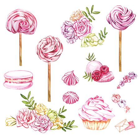 Watercolor sweets collection. Hand drawn watercolor cakes illustrations. Wedding cake, cake with berries, pink cup, cookie, cupcake, macaroon and flowers. Perfect for invitation, wedding or greeting cards.