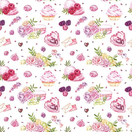 Watercolor image of a seamless pattern of sweets, candies in the shape of hearts, chocolates, cakes and envelope, Valentines Day. Perfect for cards, prints, invitations, birthday cards.
