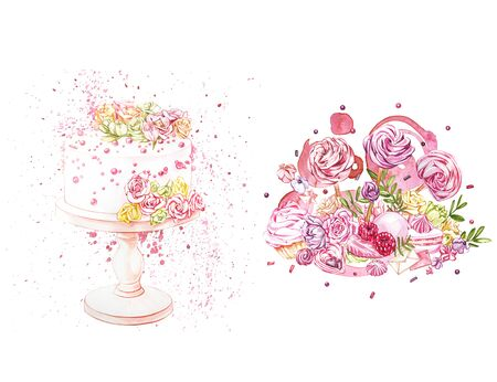 Watercolor illustration of cake with flowers. Perfect for invitation, wedding or greeting cards. With beautiful watercolor ink drops on white paper, splatter spreading on clear background. Stock Photo