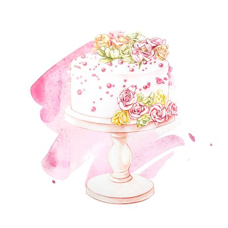 Watercolor illustration of cake with flowers. Perfect for invitation, wedding or greeting cards. With beautiful watercolor ink drops on white paper, splatter spreading on clear background Stock Photo