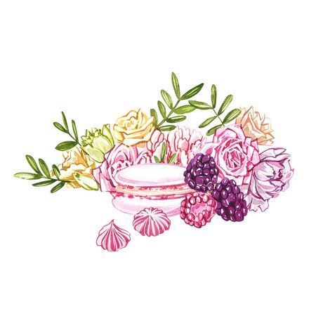 Watercolor macaroons hand painted illustration isolated on white background. Watercolor sweets collection. Perfect for cards, prints, invitations, birthday cards. The romantic image with cakes and pink flower