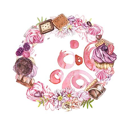 Watercolor image of a wreath of sweets, candies in the shape of hearts, chocolates, cakes and envelope, Valentines Day. Perfect for cards, prints, invitations, birthday cards.