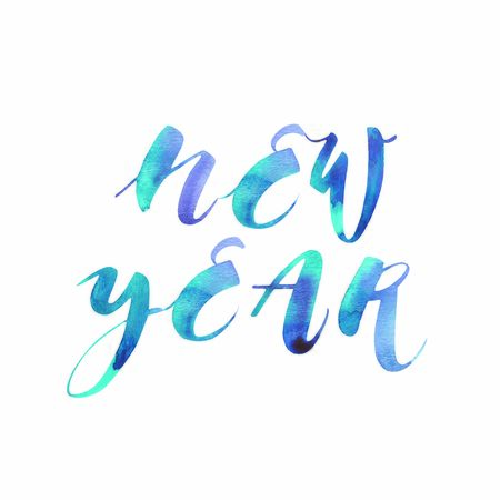 New Year. Winter holiday lettering typography for New Year celebration. Watercolor illustrations.