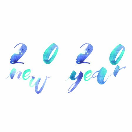 2020 New Year. Winter holiday lettering typography for New Year 2020 celebration. Watercolor illustrations. Stock Photo