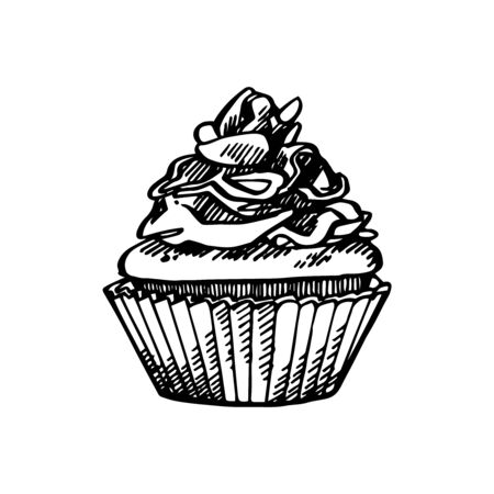 Christmas cupcake. Hand drawn illustration. New year and Christmas design elements. Greeting card invitation with xmas graphic. Vintage illustration