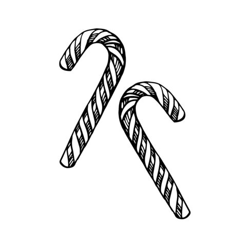Christmas candy cane isolated on white background. Template for xmas or New Year greeting card. Vector illustration