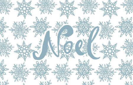 Noel lettering phrases on background with snowflakes template. Christmas illustrations. Vintage illustration Illustration