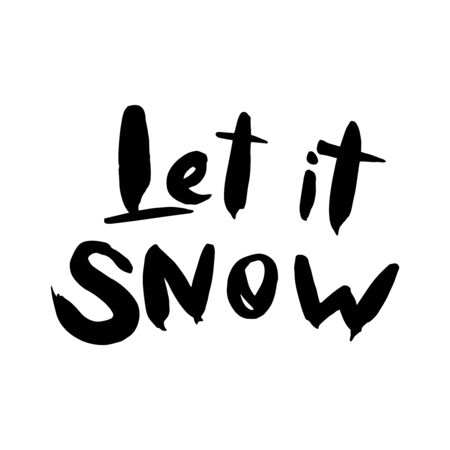 Let it snow lettering template. Greeting card invitation with xmas phrases. Vintage illustration
