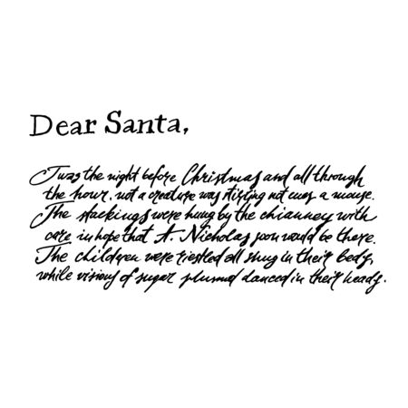 Illustration of a letter from Santa Claus. Xmas postcard. Vintage illustration