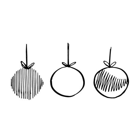 Hand drawn christmas ball illustration. Sketch black and white background illustration icon doodle. Greeting card invitation with xmas balls. Vintage illustration