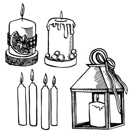 Christmas candle. Hand drawn illustration. New year and Christmas design elements. Greeting card invitation with xmas graphic. Vintage illustration