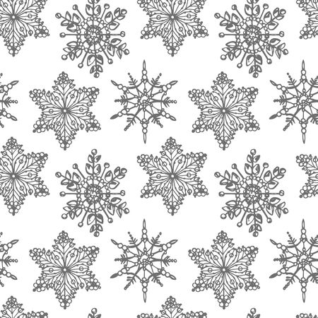 Christmas snowflakes on white background. Seamless pattern. New year and Christmas design elements. Greeting card invitation with xmas snow. Vintage illustration
