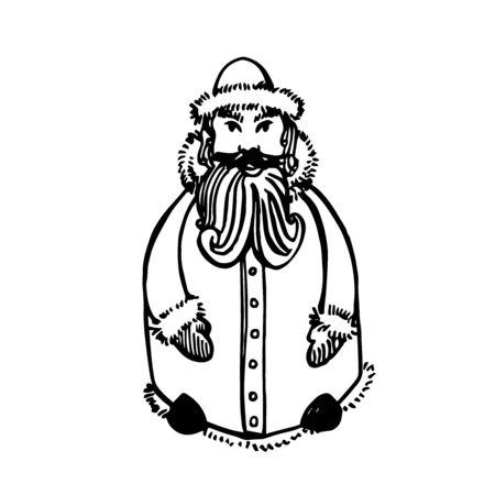 Santa Claus. Hand drawn illustration. New year and Christmas design elements. Greeting card invitation with xmas graphic. Vintage illustration. Illustration