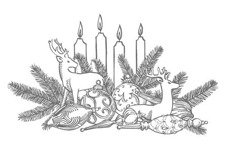 Branches of Christmas trees and Christmas tree toys. New year and Christmas design elements. Greeting card invitation with xmas graphic. Vintage illustration. Banque d'images - 135429518