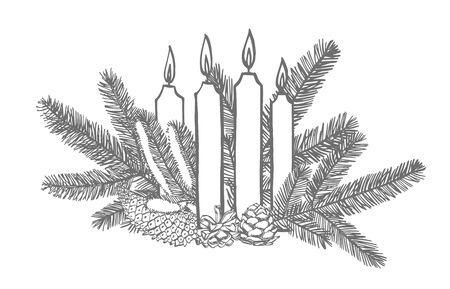 Branches of Christmas trees and Candle. New year and Christmas design elements. Greeting card invitation with xmas graphic. Vintage illustration. Banque d'images - 135429523