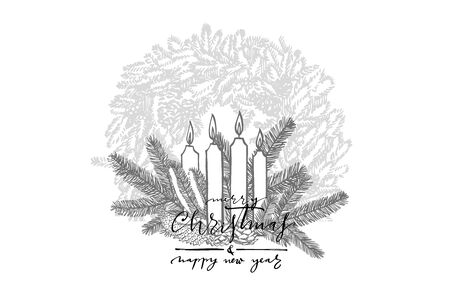 Branches of Christmas trees and Candle. Merry Christmas lettering phrases. New year and Christmas design elements. Greeting card invitation with xmas graphic. Vintage illustration. Banque d'images - 135429524