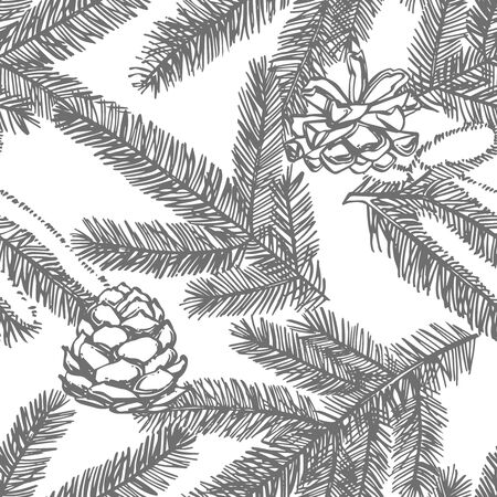 Branches of Christmas trees. New year and Christmas design elements. Greeting card invitation with xmas graphic. Seamless patterns. Ilustração