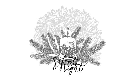 Branches of Christmas trees and Candle. Silent night lettering phrases. New year and Christmas design elements. Greeting card invitation with xmas graphic. Vintage illustration. Ilustração