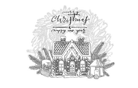 Festive cake in shape of village house decorated in Christmas style and branches of Christmas trees and Candle. New year and Christmas design elements. Greeting card invitation with xmas graphic. Vintage illustration. Foto de archivo - 135429532