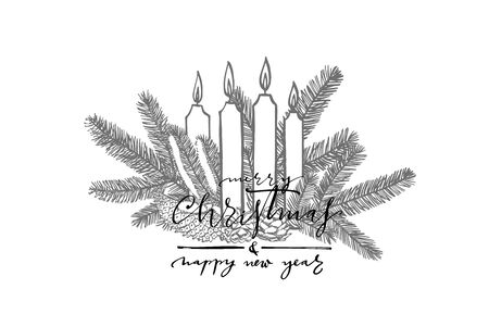 Branches of Christmas trees and Candle. Merry Christmas lettering phrases. New year and Christmas design elements. Greeting card invitation with xmas graphic. Vintage illustration.