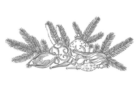 Branches of Christmas trees and Christmas tree toys. New year and Christmas design elements. Greeting card invitation with xmas graphic. Vintage illustration. Ilustração